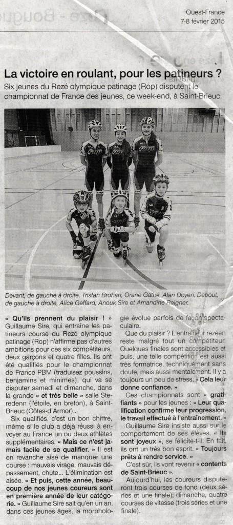 Ouest France édition du 7 fevrier 2015